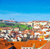 Orange roofs of Old Prague and Strahov Monastery Royalty Free Stock Photos