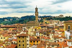 Orange Roofs Palazzo Vecchio Tower Piazza Signoria Florence Italy Stock Photo