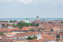 Orange Rooftops and Green Domes in Venice Stock Photos