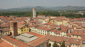 Orange Rooftops of Lucca Italy. Static medium wide high angle shallow depth of field shot during a sunny day in summer of a panoramic view on the historic city stock video
