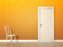 Orange room. An image of a orange room with white door and chair Stock Image