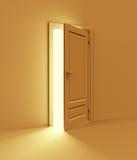 Orange room with opened door Stock Image