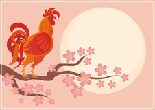 Orange rooster background. Fiery rooster - a symbol of the Chinese new year. Vector background Stock Photo