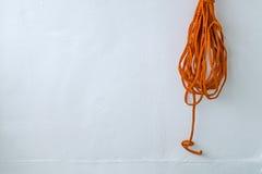 Orange rope on boat Royalty Free Stock Images