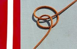 Orange Rope Fishing Boat Deck Stock Image