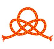 Orange knot. Orange rope in the shape of knot. Vector background for design Royalty Free Stock Photos
