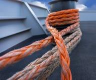 Orange rope on ship Stock Photo