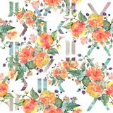 Orange rose bouquet floral botanical flowers. Watercolor background illustration set. Seamless background pattern. Orange rose bouquet botanical flowers. Wild royalty free stock photography
