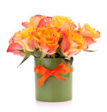 Orange rose bouquet in vase Royalty Free Stock Photos