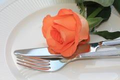 Orange rose on cutlery Royalty Free Stock Image