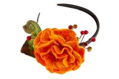 Orange rose flower image made from wool Royalty Free Stock Image