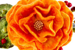 Orange rose flower image made from wool Stock Images