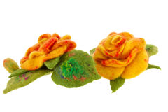 Orange rose flower image made from wool Stock Photos