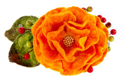 Orange rose flower image made from wool Royalty Free Stock Photo