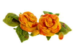 Orange rose flower image made from woolwool Royalty Free Stock Photo