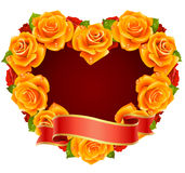 Orange Rose Frame in the shape of heart Stock Photography