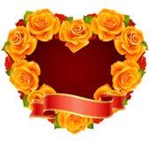 Orange Rose Frame in the shape of heart. Vector orange Rose Frame in the shape of heart Stock Photography