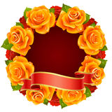 Orange Rose Frame in the shape of round. Vector orange Rose Frame in the shape of round Stock Photo