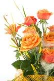Orange rose isolated on white stock image
