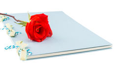 Orange rose with notebook Stock Photos