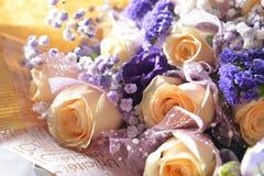 Orange Rose Common baby`s-breath. Orange Rose Purple Common baby`s-breath Myosotis royalty free stock images