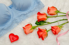 Orange roses and blue bodice with lace on white fur. Fashionable concept. Top view. Close-up Stock Photography