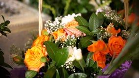 Orange roses bouquet stock footage