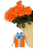 Orange roses  with gift box Royalty Free Stock Photo