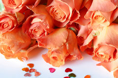 Orange roses and hearts Royalty Free Stock Photo
