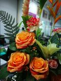 Orange roses and variety flowers in vase. A rose is a woody perennial flowering plant of the genus Rosa, in the family Rosaceae, or the flower it bears. There royalty free stock photo