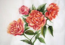 Orange roses watercolor painting Royalty Free Stock Photo