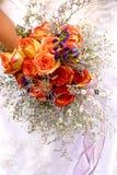 Orange roses wedding bouquet. Bridle flowers Royalty Free Stock Images