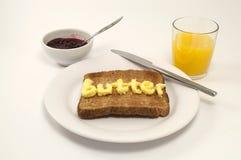 orange rostat bröd för frukostfruktsaft Fotografering för Bildbyråer