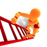 Orange/rotes Männchen, das eine Strichleiter steigt Lizenzfreies Stockbild