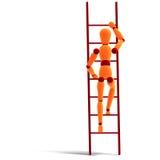 Orange/rotes Männchen, das eine Strichleiter steigt Stockbild