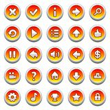 Orange, round game menu buttons royalty free illustration