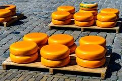 Orange, round Gouda soft delicious German chees Stock Photo