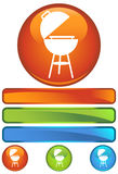 Orange Round Icon - BBQ. A set of icon round buttons - bbq grill Stock Photos