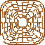 Orange round maze. On a white background Stock Image