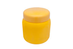 Orange Round Shaped Cosmetic Container on White Background/ Isolated Royalty Free Stock Photo