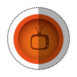 Orange round symbol old television with antenna icon. Illustration design Stock Photography