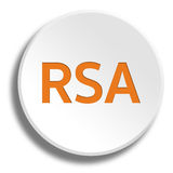 Orange rsa in round white button with shadow Stock Image