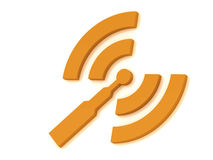 Orange RSS antenna with two signals radio waves Royalty Free Stock Images
