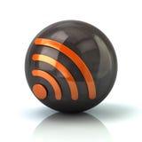 Orange Rss feed icon on black glossy sphere. 3d illustration on white background Stock Photo