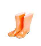 Orange rubber boots isolated on white Stock Images