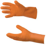 Orange rubber fisherman gloves. Orange rubber gloves for fish processing Royalty Free Stock Images