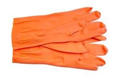 Orange rubber gloves Stock Photo