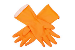 Orange rubber gloves Stock Images