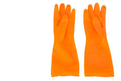 Orange rubber gloves Isolated Stock Images
