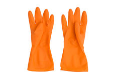 Orange rubber gloves isolated on white Royalty Free Stock Image